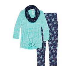 Knit Works Long Sleeve Tie Front Top Legging Set with Scarf- Girls' 7-16 & Plus