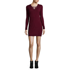 by&by Long Sleeve Embellished A-Line Dress-Juniors