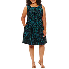 Danny & Nicole Sleeveless Damask Fit & Flare Dress - Plus