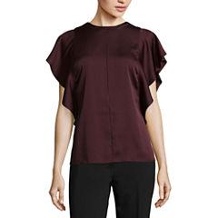 Worthington Short Sleeve Woven Blouse-Talls