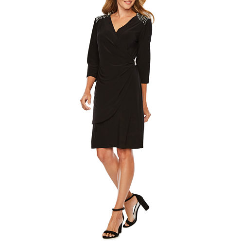 R & M Richards 3/4 Sleeve Embellished Wrap Dress