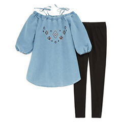 Limited Too Cold Shoulder Chambray Top with Legging Legging Set- Girls' 7-16
