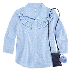 Beautees 3/4 Sleeve Button-Front Shirt Girls