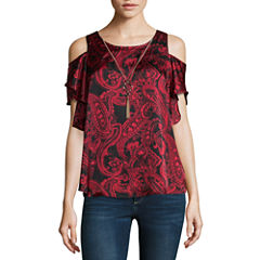 by&by Short Sleeve Crew Neck Satin Paisley Blouse-Juniors
