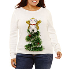 Ugly Christmas Cat in Tree Sweater-Juniors Plus