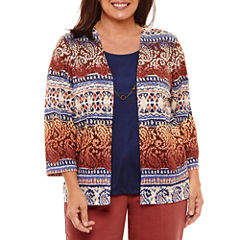 Alfred Dunner Gypsy Moon 3/4 Sleeve Crew Neck Layered Sweaters-Plus