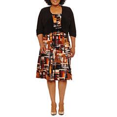 Perceptions Elbow Sleeve Jacket Dress-Plus