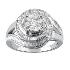 Diamond Blossom Womens 1 CT. T.W. Genuine White Diamond 10K Gold Cocktail Ring