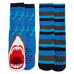 Shark 2 Pack Slipper Socks - Boys 4-20