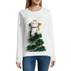 Ugly Christmas Cat in Tree Sweater-Juniors