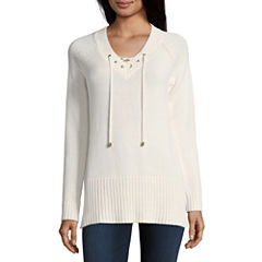Liz Claiborne Long Sleeve Lace-Up Pullover Sweater