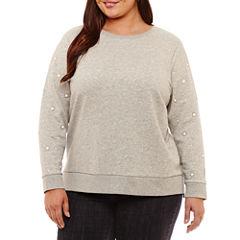 St. John's Bay Long Sleeve Step Hem Sweatshirt-Plus