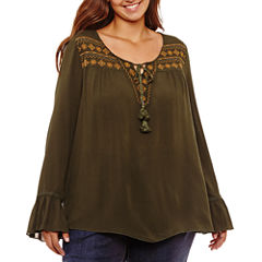 Unity World Wear Long Sleeve Flounce Embroidered Peasant Blouse-Plus