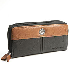 Stone Mountain Pebble Leather Double Zip Around Zip Around Wallet