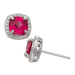 Cushion Red Ruby Sterling Silver Stud Earrings