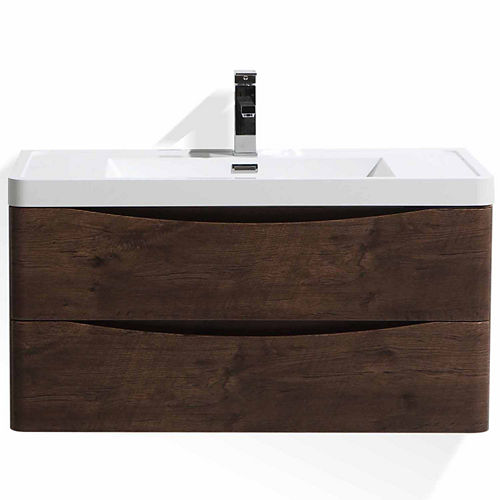 Moreno Bath Smile 40 Wall Mounted Modern Bathroom Vanity with 1 Drawer and Reinforced Acrylic Sink