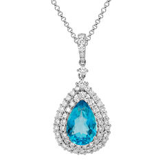 LIMITED QUANTITIES  Genuine Swiss Blue Topaz and 1¼ CT. T.W. Diamond Pendant Necklace