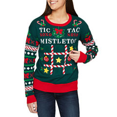 Mistletoe Tic Tac Toe Game Sweater with Velcro Game Pieces-Juniors