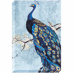 Decor Therapy Ornate Peacock Stretched Canvas with Silver Foil Accents