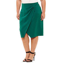 Worthington Drape Front Pencil Skirt Plus