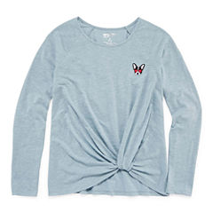 Arizona Long Sleeve Knot-Front Tee w/ Patch Embroidery - Girls' 7-16 and Plus