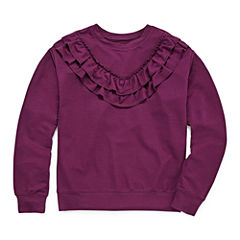 Arizona LS Ruffle Yoke Sweatshirt - Girls' 7-16 & Plus