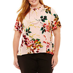 Worthington Short Sleeve Crew Neck Floral T-Shirt-Womens Plus