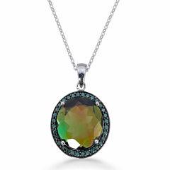 Womens Black Quartz Sterling Silver Pendant Necklace