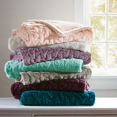 Madison Park Ruched Fur Throw