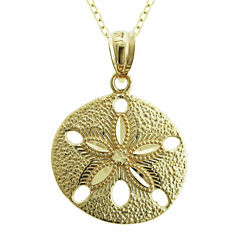 10K Yellow Gold Sand Dollar Charm Pendant