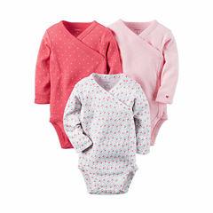 Carter's® 3-pk. Long-Sleeve Pink Geo Bodysuits - Baby Girl newborn-24m