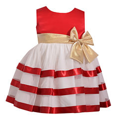 Bonnie Jean Sleeveless Ribbon Dress with Bow Dress - Baby Girls