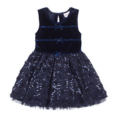 Little Lass Short Sleeve A-Line Dress - Baby Girls
