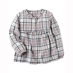 Carter's Long Sleeve Button-Front Shirt Girls