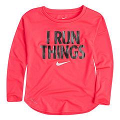 Nike Long Sleeve Crew Neck T-Shirt-Preschool Girls