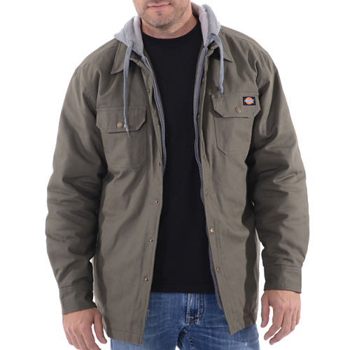 Dickies Hooded Canvas Quilt Lined Flannel Shirt Jacket - Big