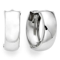 14K White Gold 12.5mm Hinged Hoop Earrings