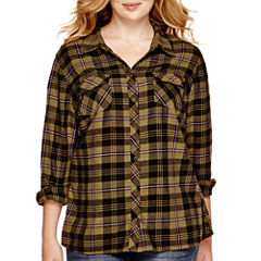 Arizona Long-Sleeve Sequin Plaid Shirt - Juniors Plus