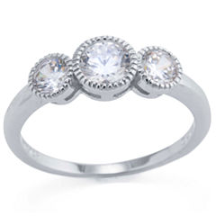 Silver Treasures Womens Clear 3-Stone Ring