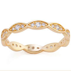 Silver Treasures Womens Clear 14K Eternity Band