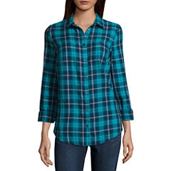 St. John's Bay Long Sleeve Camp Shirt- Talls