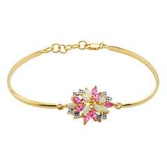 Womens White Opal Gold Over Silver Bangle Bracelet