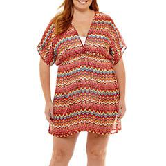 Porto Cruz Pattern Chiffon Swimsuit Cover-Up Dress-Plus