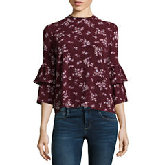 Wallflower 3/4 Sleeve High Neck Crepe Floral Blouse-Juniors