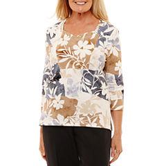 Alfred Dunner 3/4 Sleeve Sweetheart Neck Patchwork T-Shirt-Womens