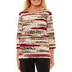 Alfred Dunner 3/4 Sleeve Crew Neck Pattern T-Shirt-Womens