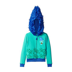 Trolls Girls Branch Costume Hoodie with Printed Applique Patch and Faux Fur Hood