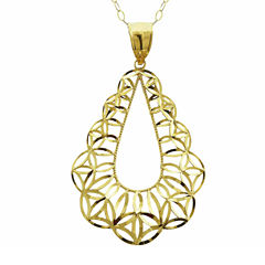 10K Yellow Gold Diamond-Cut Teardrop Pendant Necklace