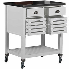 Linon Robbin Stainless Steel-Top Kitchen Cart