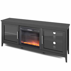 Jackson Black Wood Grain Fireplace TV Bench, for TVs up to 80